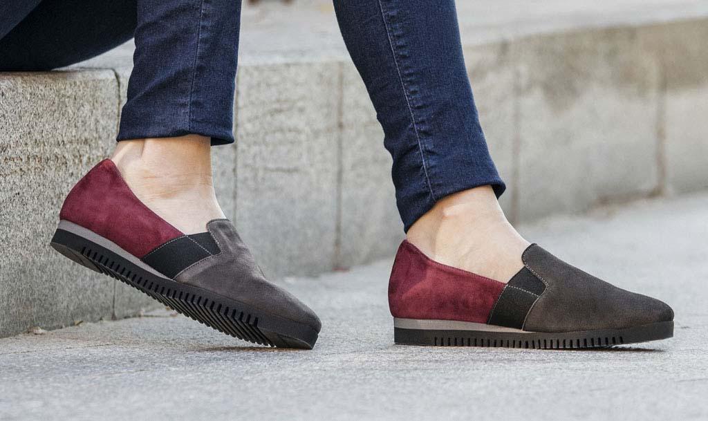 Zapatos SABRINAS Chicago Ante Gris Ante Burdeos